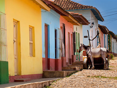 Row of colorful houses in Trinidad at Cuba